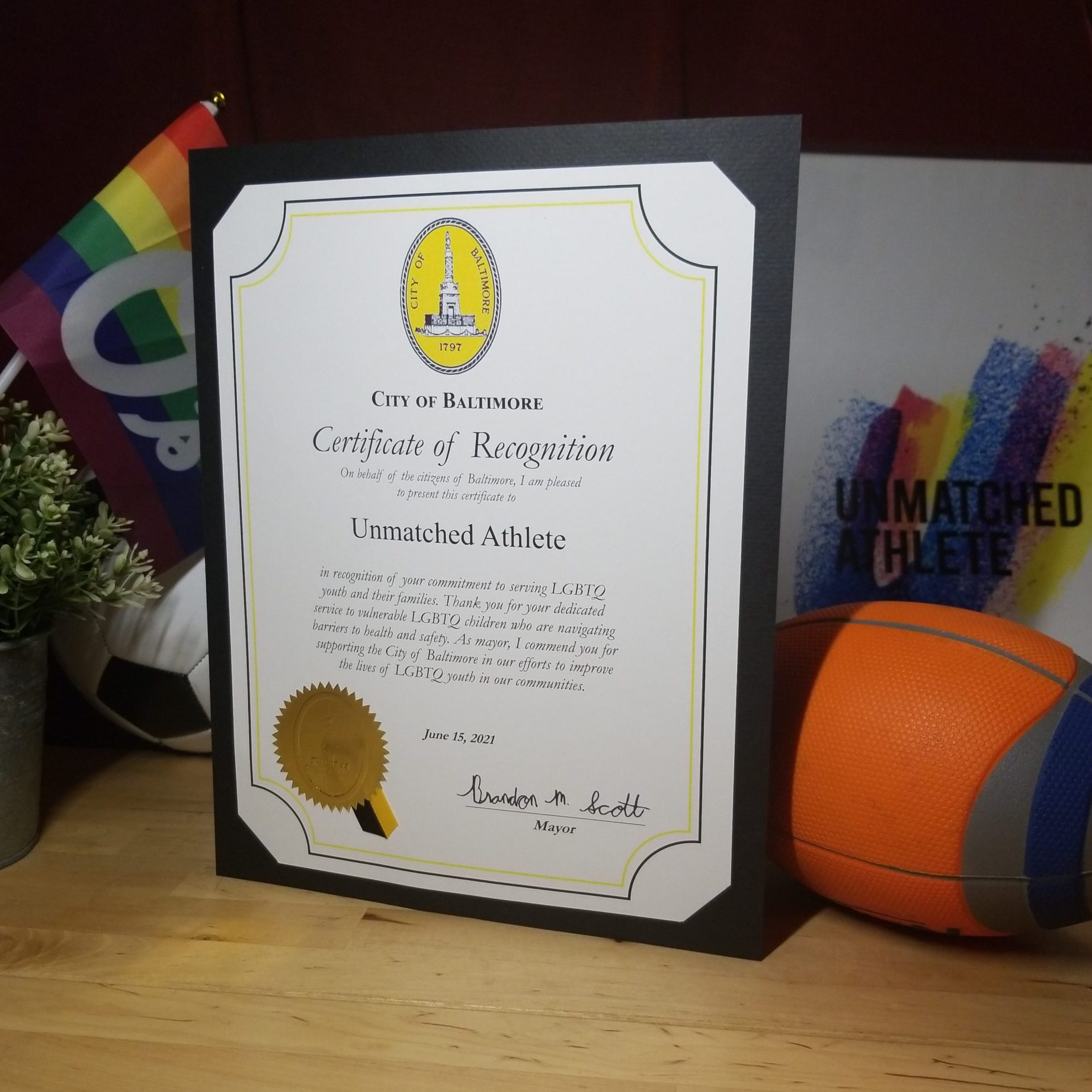 Recognition by the City of Baltimore